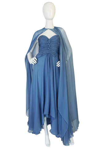 1970s Oscar de la Renta Ice Blue Silk Chiffon Dress & Cape