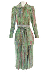 Rare 1973 Bill Gibb Museum Documented Metallic Green Lurex Skirt Top and Jacket Set
