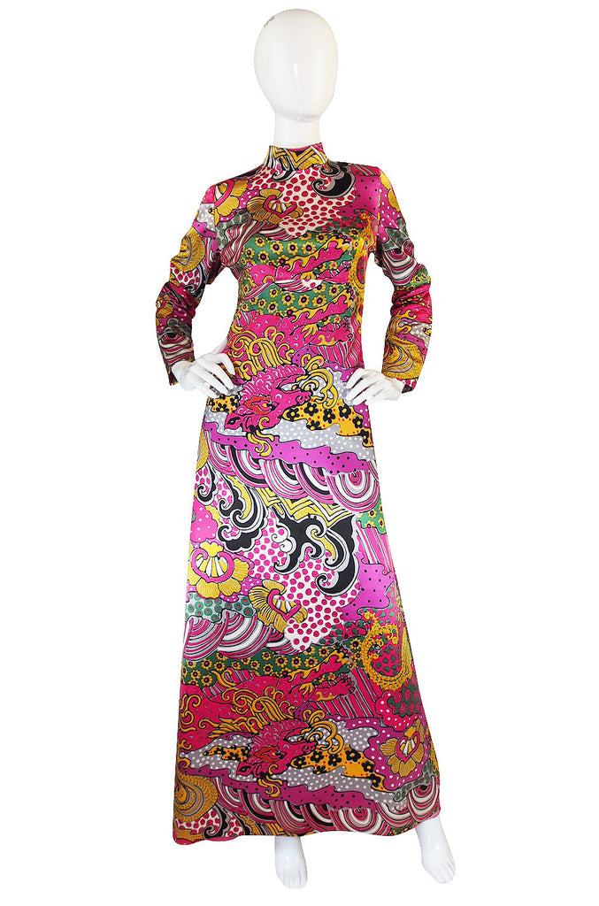 1960s Mr Blackwell Custom PInk Print Maxi Dress