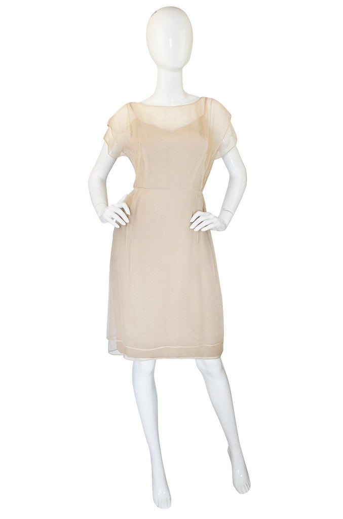 1955 Rare Irene Lentz Pale Taupe Silk Dress