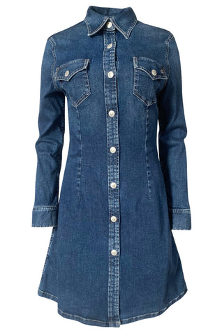 "2015 Alexa Chung for AG ""The Pixie"" Denim Snap Front Mini Dress"