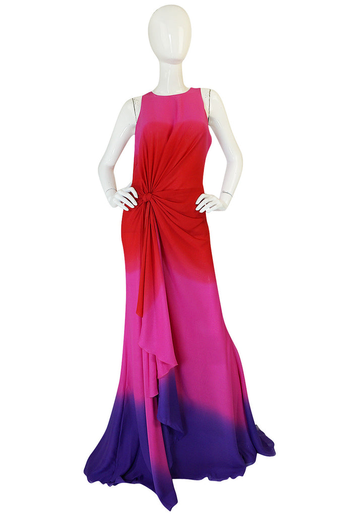 F/W 2002 Runway Versace Pink Ombre Backless Silk Chiffon Dress