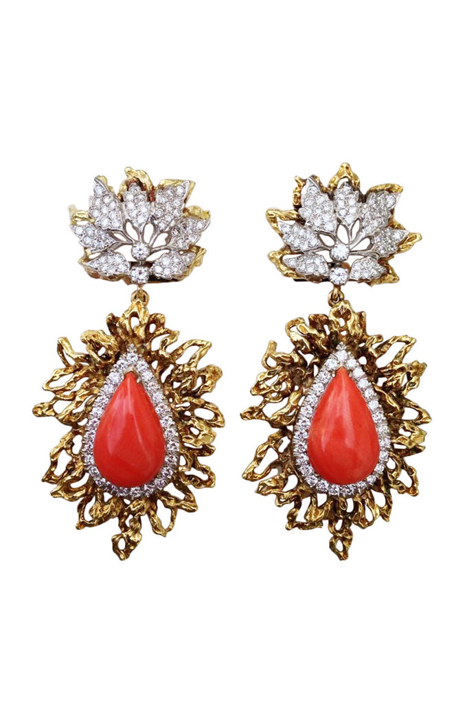 1960s Coral Diamond Platinum Gold Ear Pendants