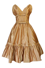 c.1957 Christian Dior Demi-Couture Gold Bow Detailed Silk Dress