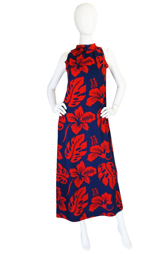 1960s Red & Blue Cotton Hawaiian Maxi Dress