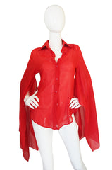 1990s Red Amazing Kimono Sleeved Gucci Top