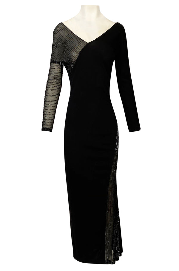1980s Halston Black Bias Cut Jersey Dress w Transparent Beaded Net Panel