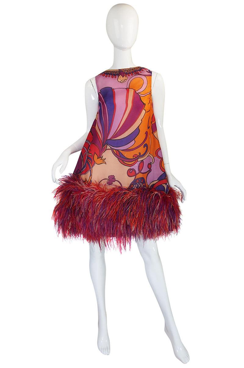 Incredible 1960s Early Bill Blass Feather Dress