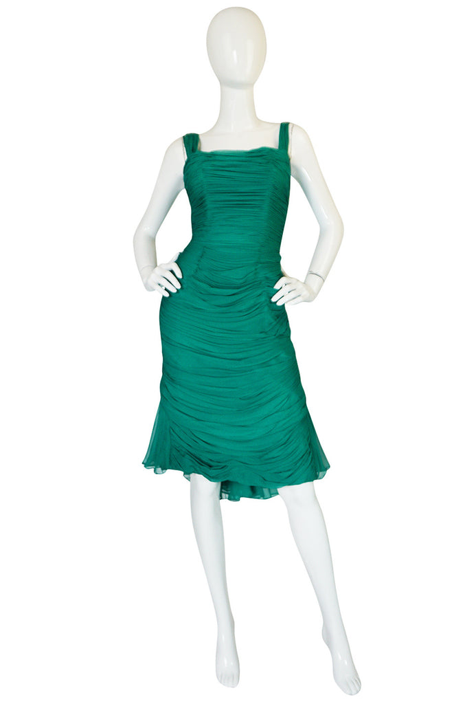 Rare c1958 Jean Desses Green Silk Elaborate Pleat Dress