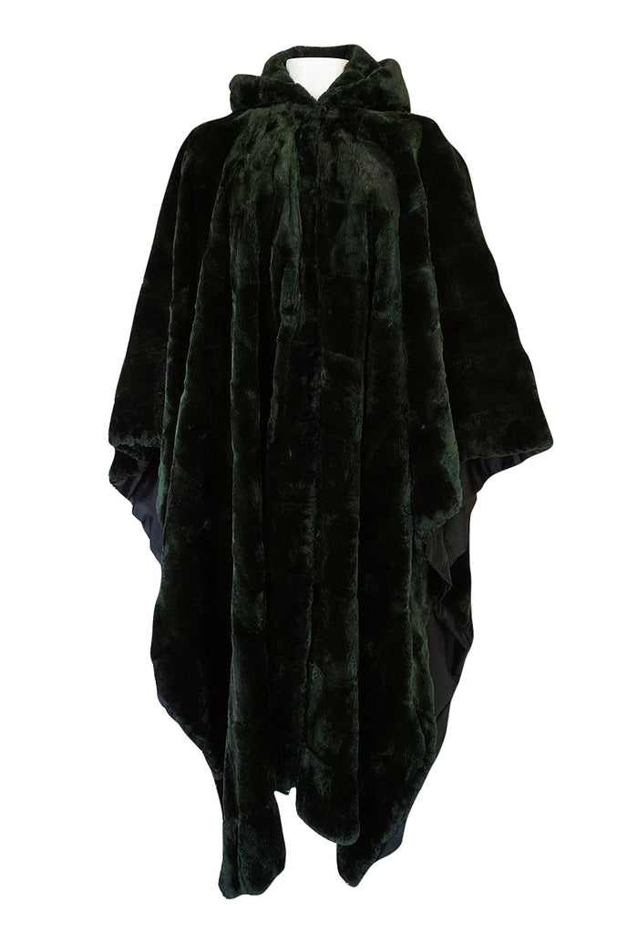 1970s Yves Saint Laurent Hooded Deep Green Shaved Fur Poncho