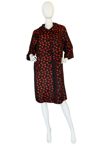 1950s Black Silk w Red Embroidered Floral Detail Swing Coat