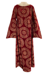 1930s Franco Bertoli Hand Painted Gold Patterned Caftan Dress on A Deep Red Silk Velvet