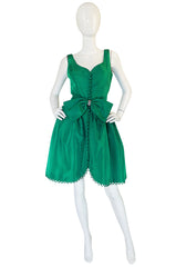 Spectacular 1960s Emerald Green Full Skirt Mini Dress