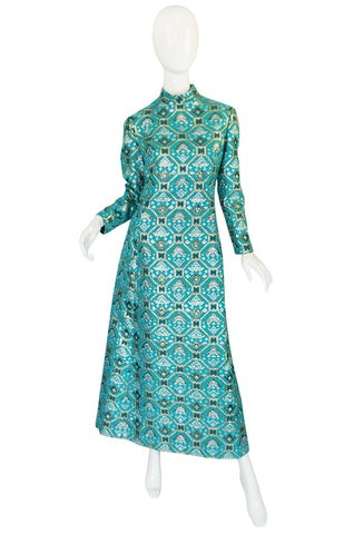 1970s Turquoise & Metallic Ikat Brocade Mollie Parnis Dress
