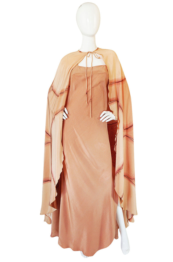 Rare 1960s Hand Painted Silk Andre Murasan Dress & Cape