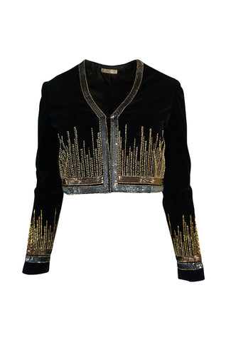 c.1960-63 Jean Patou Beaded & Sequin Black Velvet Jacket