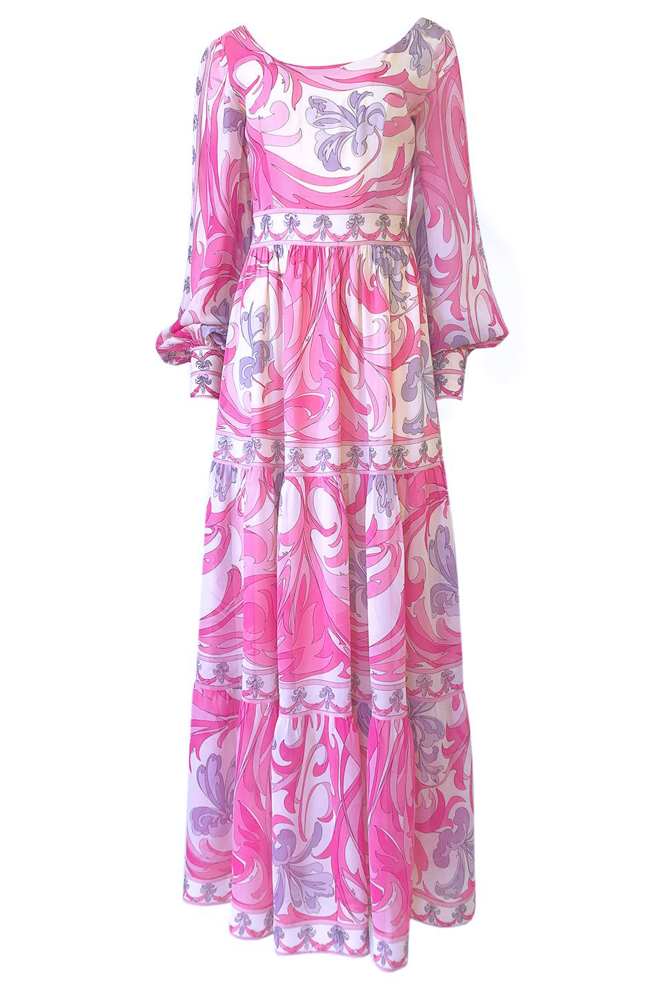53f9615fcc 1960s Emilio Pucci Pretty Pink Print Silk Chiffon Tiered Skirted Maxi Dress