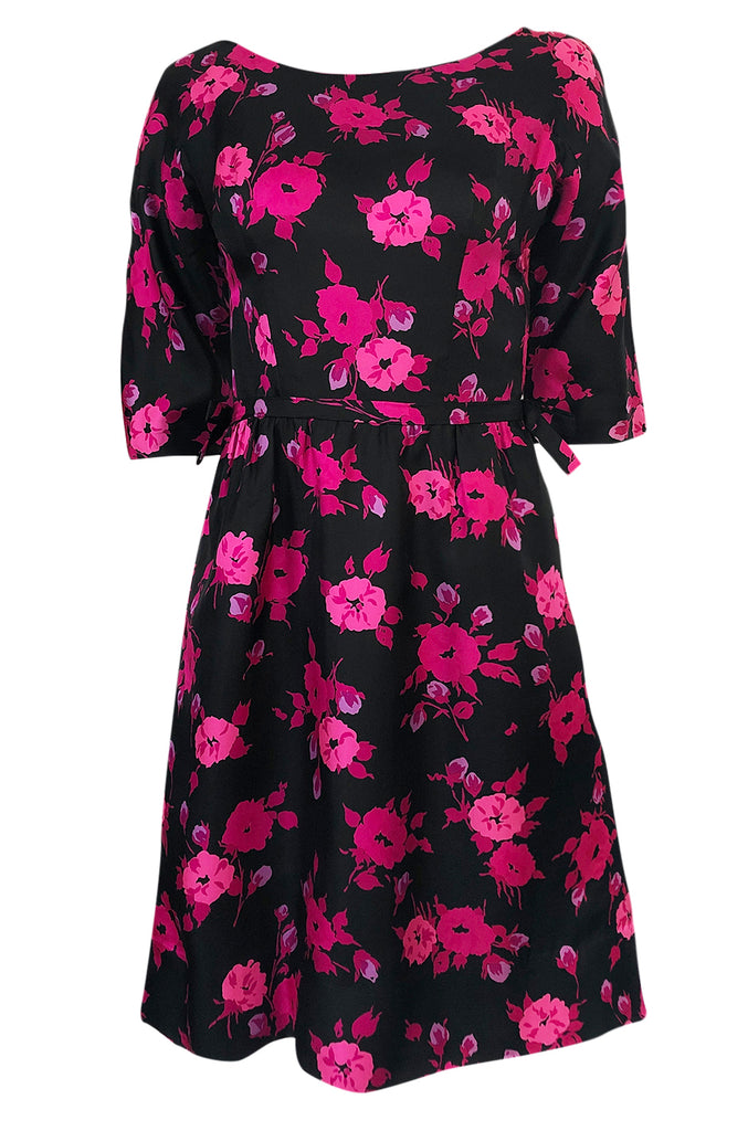 1950s Sylvan Rich for Martini Pink Floral Print on Black Silk Twill Dress