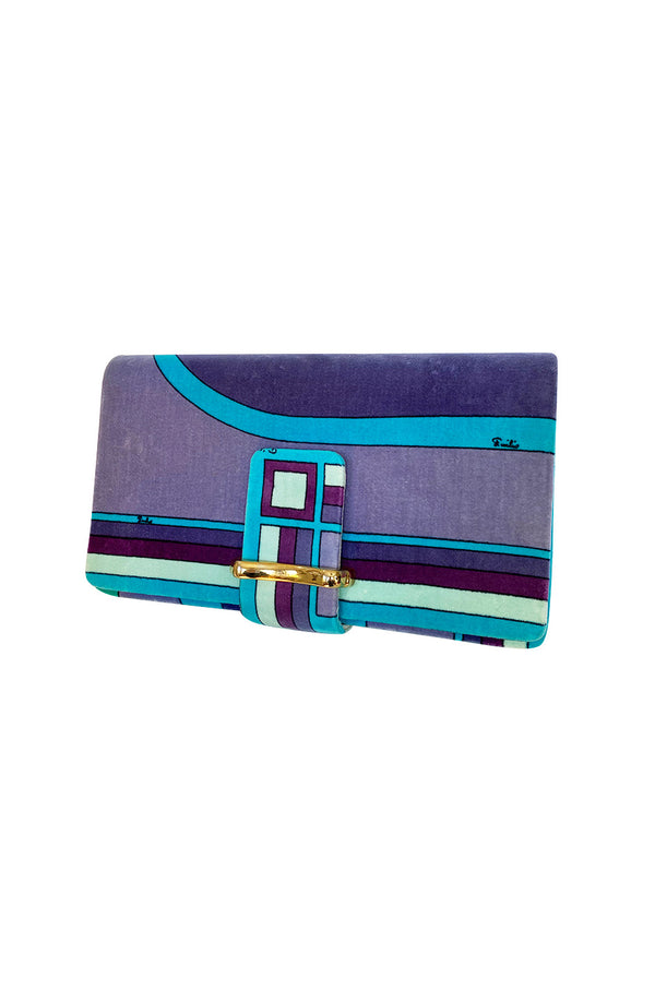 1970s Emilio Pucci Large Convertible Velvet Print Clutch Bag