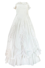 1985 Laura Ashley Crisp White Cotton Strapless Bow Dress