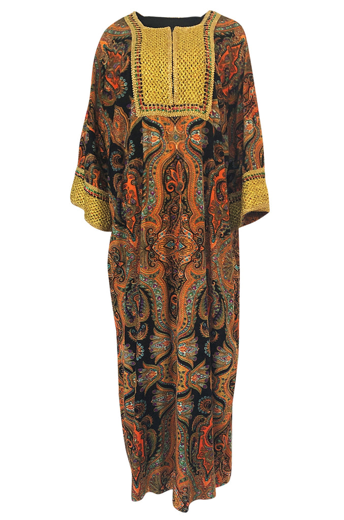 1960s Unlabeled Printed Velveteen & Elaborate Gold Braid Caftan Dress