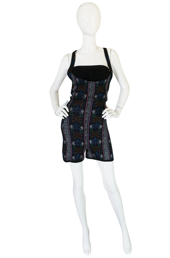 Fall 1990 Collection Azzedine Alaia Printed Romper Playsuit