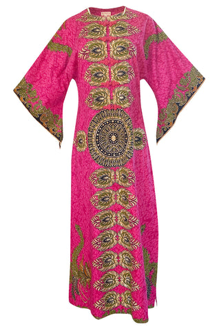 1960s Unlabeled Pink Thai Print Cotton Caftan Dress w Frog Knot Detail