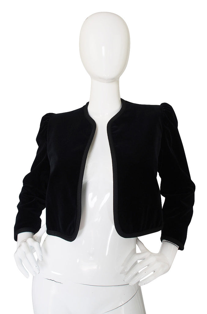 1970s Yves Saint Laurent Velvet Crop Jacket
