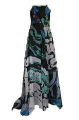 S/S 2007 Christian Lacroix Blue Strapless Dress & Shawl w Applique