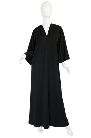 1970s Halston Simple & Chic Black Jersey Caftan Dress