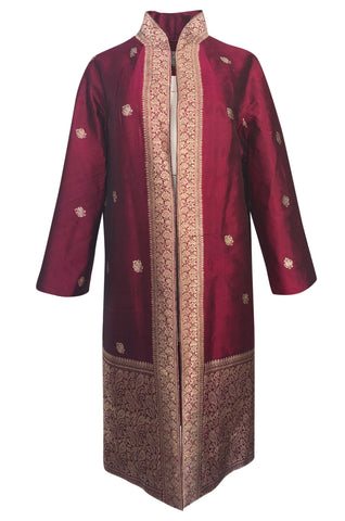 1950s Handmade Woven Gold & Deep Red Shantung Silk Evening Coat