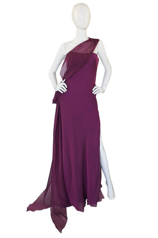 1990s Ben de Lisi One Shoulder Aubergine Silk Chiffon Dress