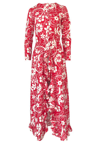 1970 Oscar de la Renta Documented Red Print Beach Coat Dress