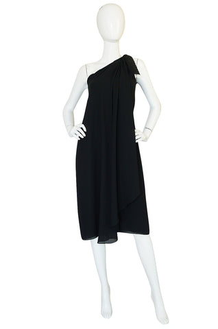 Treasure Item - 1980s Bill Blass One Shoulder Dress