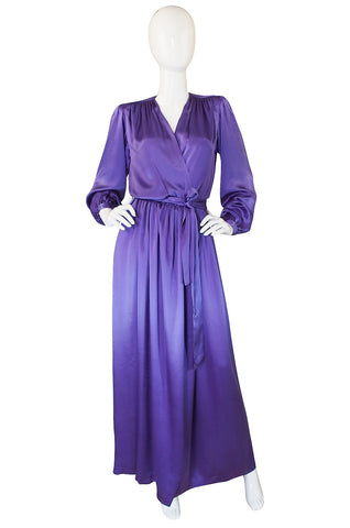 Fine c1988 Yves Saint Laurent Purple Silk Satin Wrap Dress