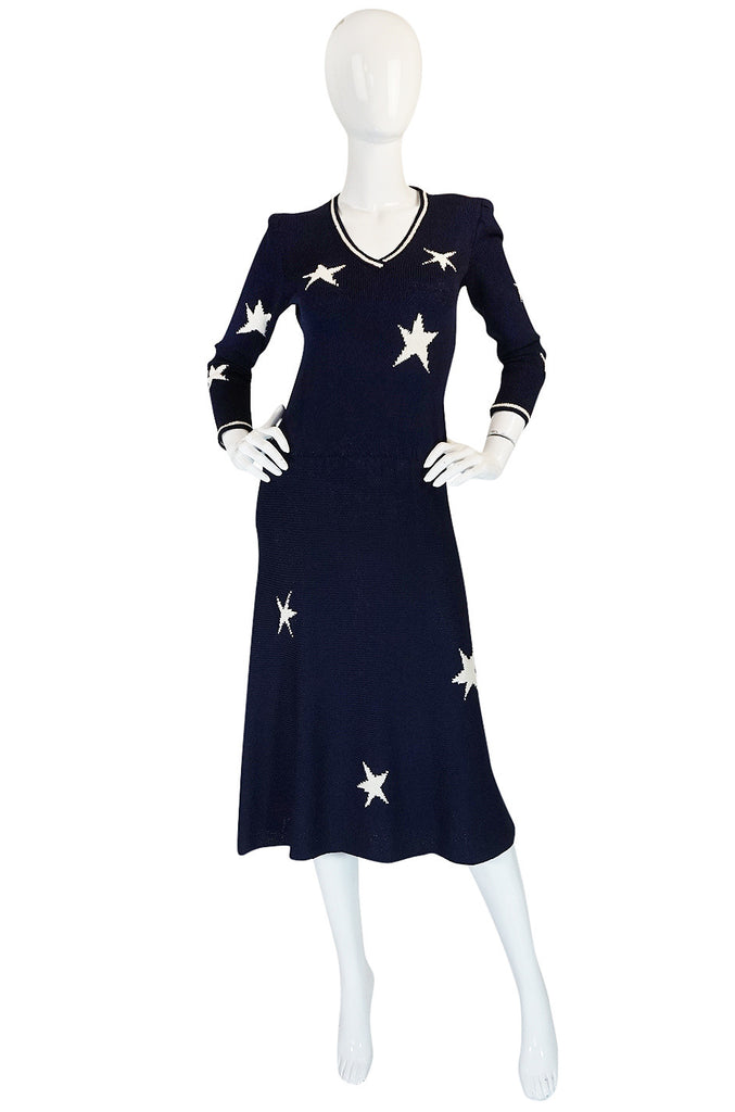 1970s Deep Navy Blue & White Star Print Adolfo Knit Dress
