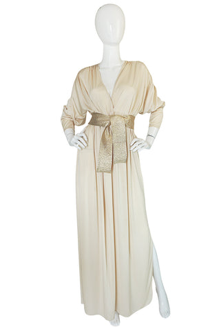 1970s Bill Tice Plunging  Cream & Gold Jersey Dress