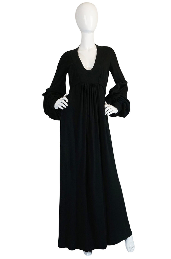 "c1969 Iconic Ossie Clark ""Graduation"" Black Plunge Dress"