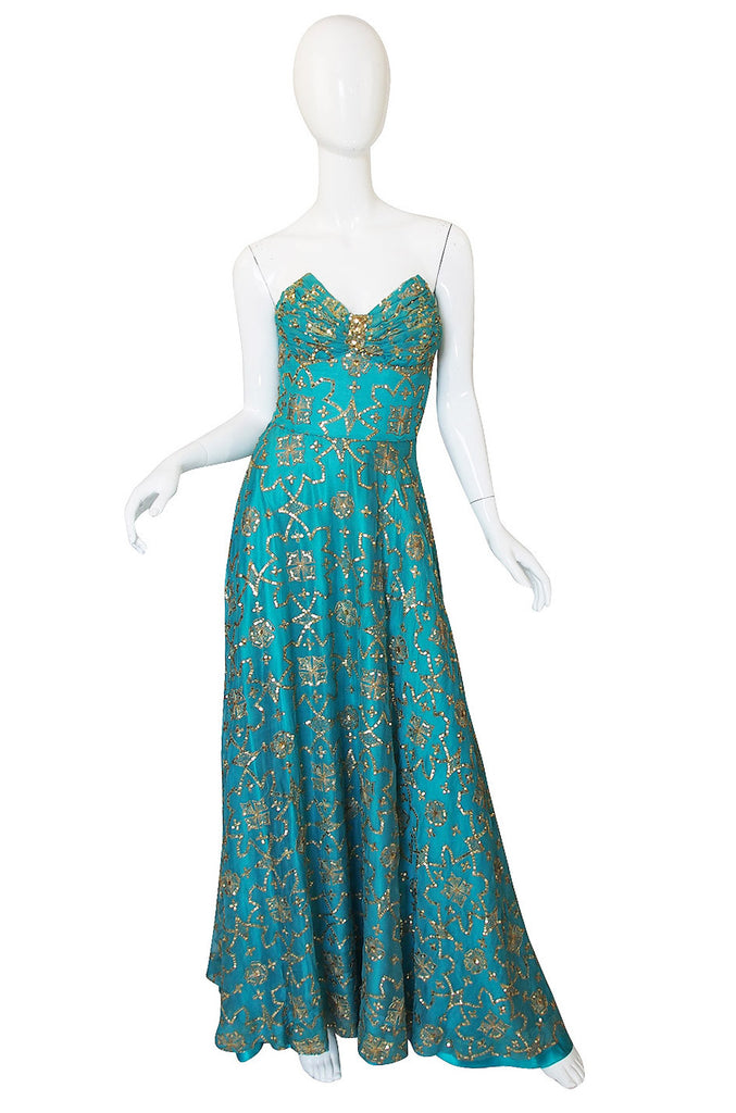 1970s Turquoise & Gold Sequin Silk Gown