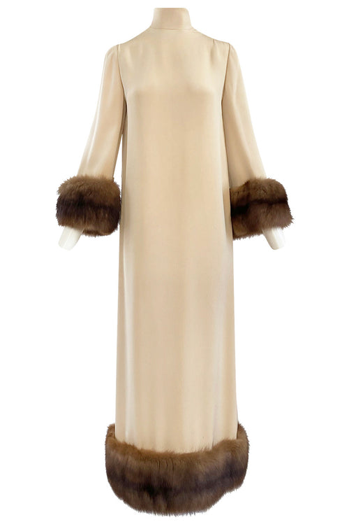 c.1964 Norman Norell Couture Ivory Silk Crepe Dress w Natural Mink Cuffs & Hem Detailing