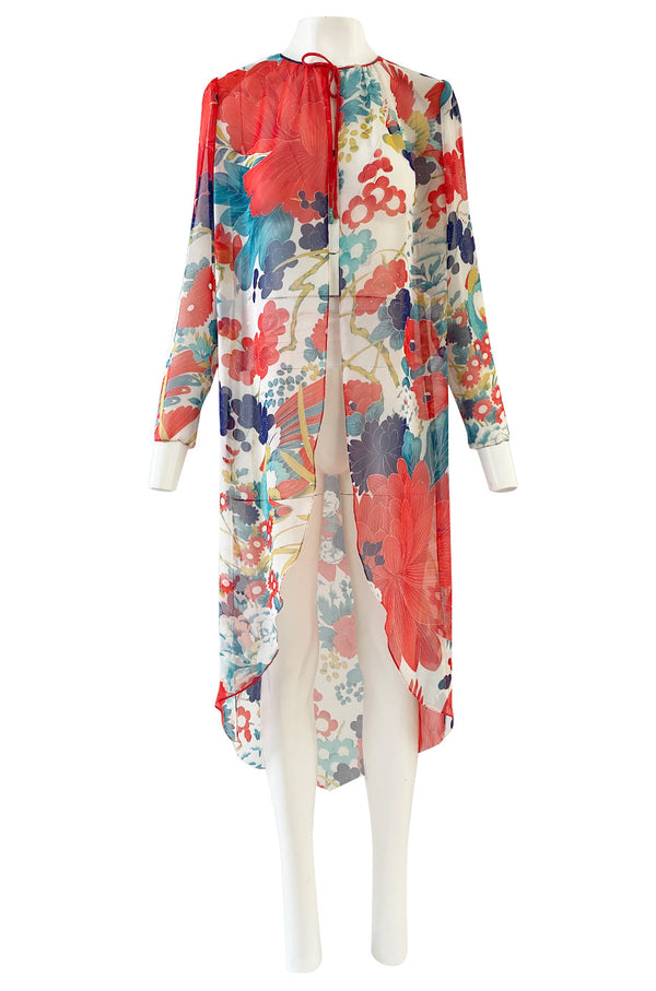 1970s Hanae Mori Silk Chiffon Jacket w Huge Bright Floral and Parrot Print