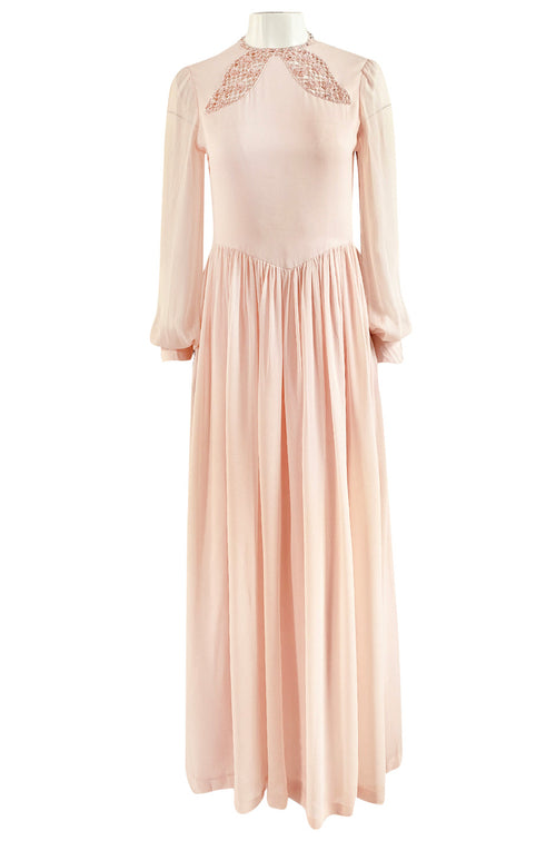 1960s Tiziani by Karl Lagerfeld Couture Blush Silk Chiffon & Sequin Dress
