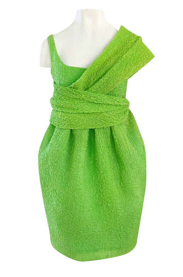 c.1988 Christian Lacroix Luxe Label Demi-Couture Lime Green Puff Silk Dress W Changeable Panel