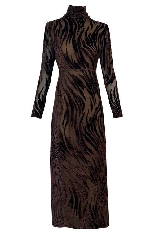 1970s Pauline Trigere Fused Velvet & Chocolate Silk Chiffon Dress w Attached Tie at Neck
