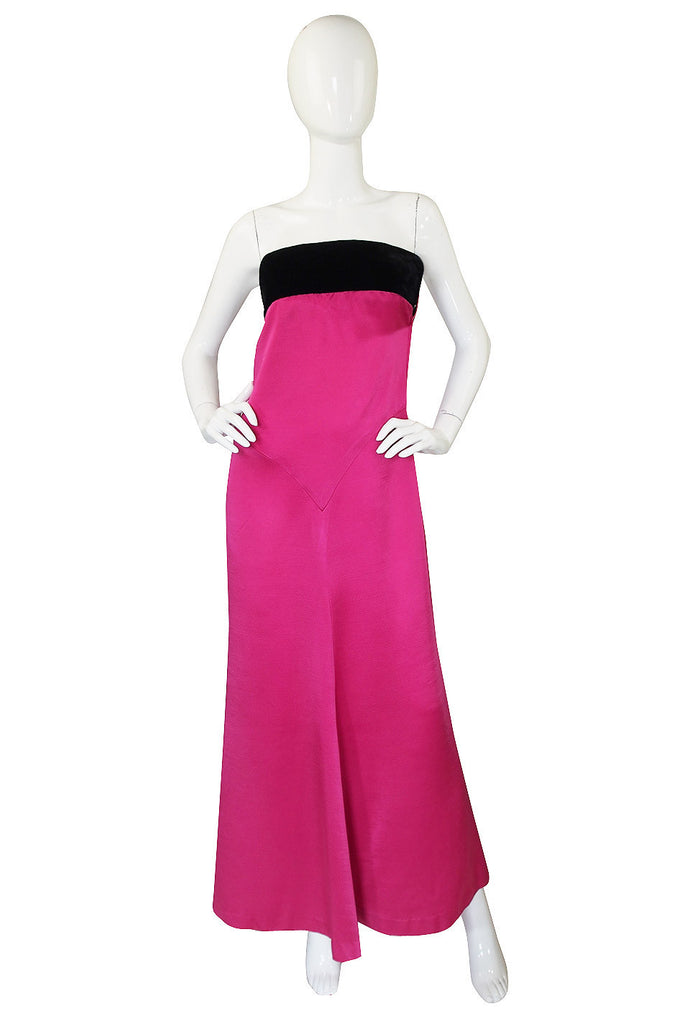 1970s YSL Shocking Pink Strapless Gown