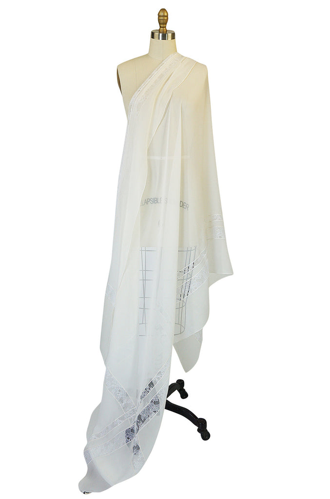 1970s Huge White Silk & Lace Christian Dior Scarf or Shawl