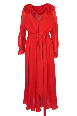 1974 Halston Red Silk Chiffon Ruffled Collar & Cuffs Bias Cut Dress