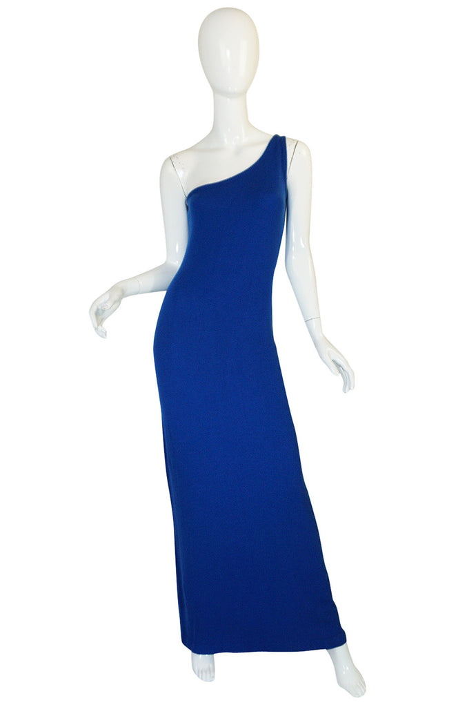 Museum Held 1977 Halston Blue Cashmere One Shoulder Dress
