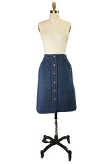 Fabulous 1970s Celine Denim Logo Snap Front Skirt