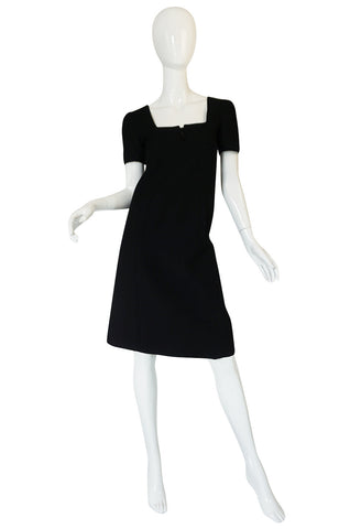 Chic 1960s Courreges Paris Black Shift Dress